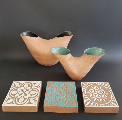 Coiled-Stoneware-Marriage-Vessels-with-Block-Tiles